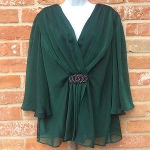 Dress Barn Peacock Green Jeweled Blouse Size 16